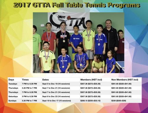 2017 GTTA FALL TABLE TENNIS PROGRAMS
